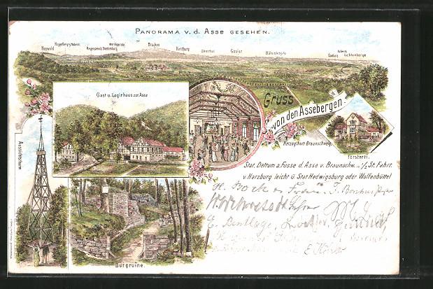Lithographie Wittmar, Panorama von der Asse aus, Gasthaus zur Asse, Aussichtsthurm, Burgruine