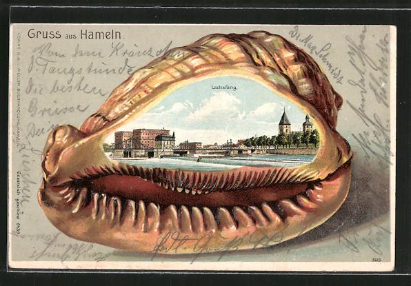 Passepartout-Lithographie Hameln, Lachsfang, Muschel