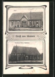 AK Idensen, Gasthaus von Heinr. Matthias, Saal