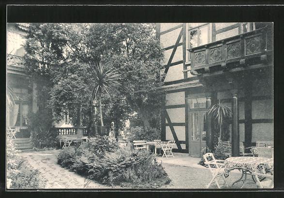 Richter Garten ak bad pyrmont, hotel-pension richter, garten vor dem speisesaal nr