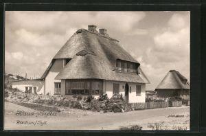 AK Rantum, Haus Sytta, Gebäude mit Reetdach
