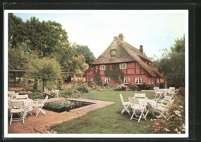 AK Bendestorf, Hotel Haus Meinsbur vom Garten gesehen