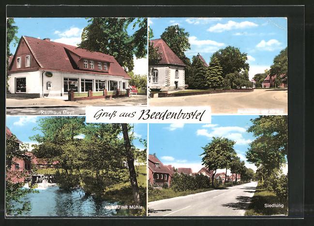 AK Beedenbostel, Kaufhaus Meyn, Dorfstrasse mit Kirche, Aschau mit Mühle