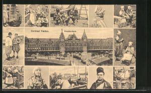 AK Amsterdam, Centraal Station, Strassenbahnen vor dem Hauptbahnhof, Männer und Frauen in Tracht