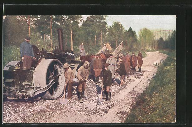 AK Strassenbau in Feindesland , Arbeiter mit Lokomobil