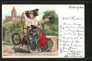 Künstler-AK Junge Frau in Tracht von Schaumburg-Lippe am Spinnrad
