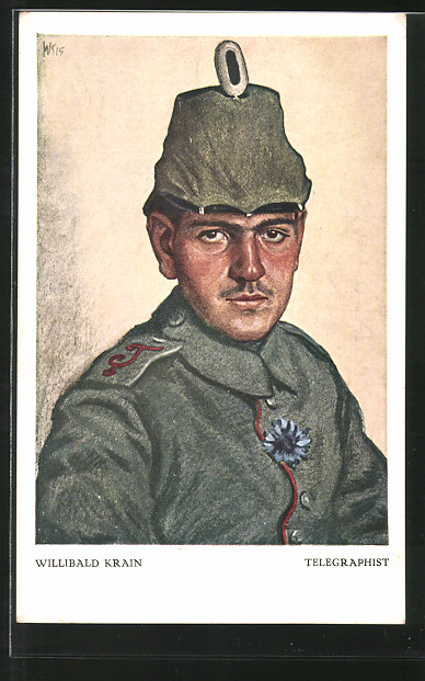 Künstler-AK Telegraphist, Portrait eines Feldgrauen mit Tschako
