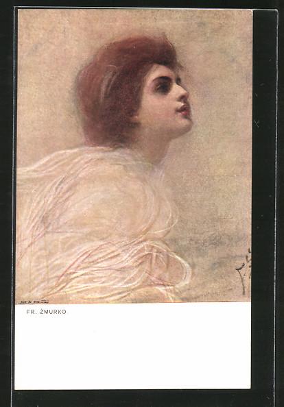 Künstler-AK Franciszek Zmurko: Kopfportrait eines Mädchens