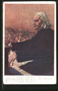 Künstler-AK IIième Rhapsodie, Liszt am Piano