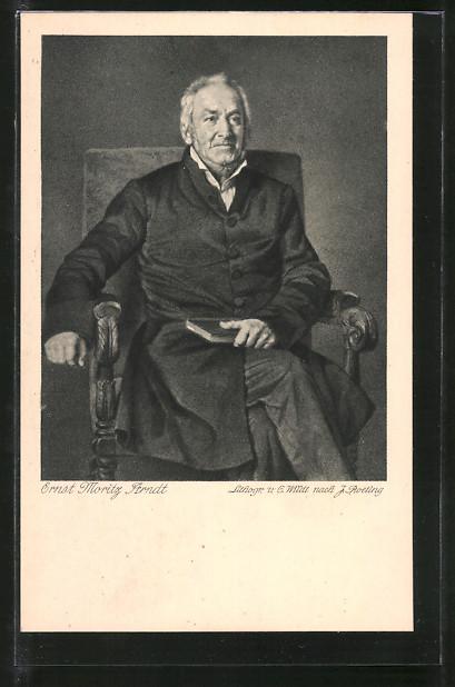 Künstler-AK Ernst Moritz Arndt, Portrait im Sitzen