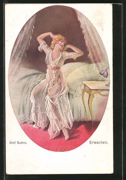 39ab8724a27c6f Künstler-AK Junge Frau im transparenten Nachtgewand beim Erwachen