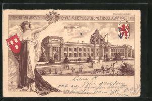 Künstler-AK Düsseldorf, Industrie-, Gewerbe-, Deutsch-, Nationale Kunstausstellung 1902, Blick auf den Kunstpalast