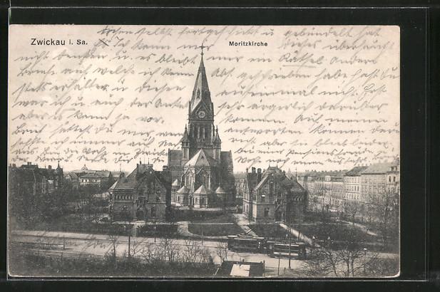 AK Zwickau, Moritzkirche aus der Vogelschau 0