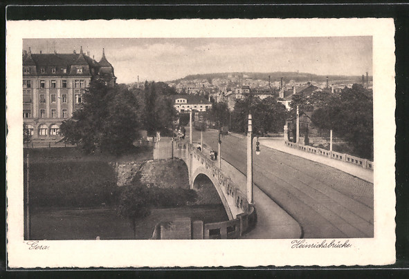 AK Gera, Blick über die Heinrichsbrücke 0