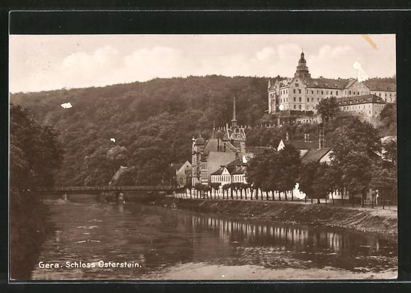 AK Gera, Flusspartie mit Blick auf Schloss Osterstein 0