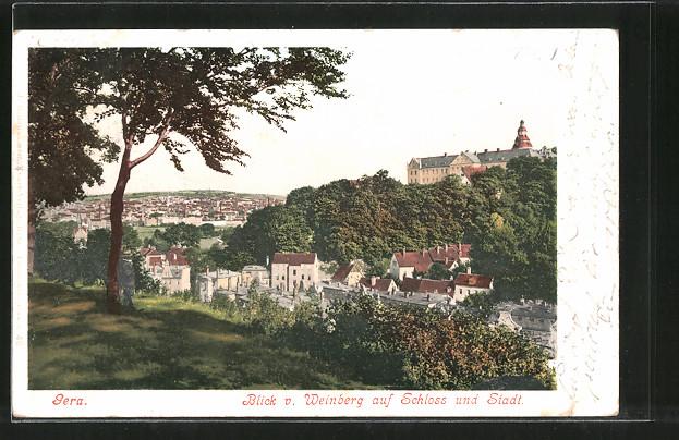 AK Gera, Blick vom Weinberg auf das Schloss und die Stadt 0