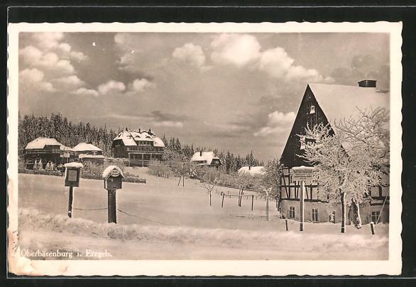 AK Oberbärenburg, Ortspartie im Winter. 0