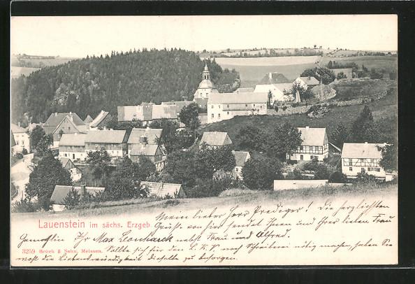 AK Lauenstein, Ortsansicht vom Hügel aus 0