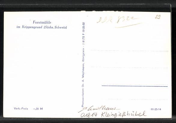 AK Kleingiesshübel, Innenansicht Gasthaus Forstmühle im Krippengrund 1