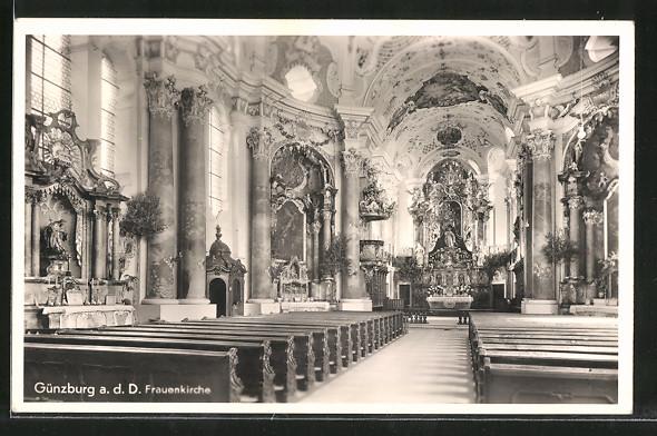 AK Günzburg, Frauenkirche, Innenansicht