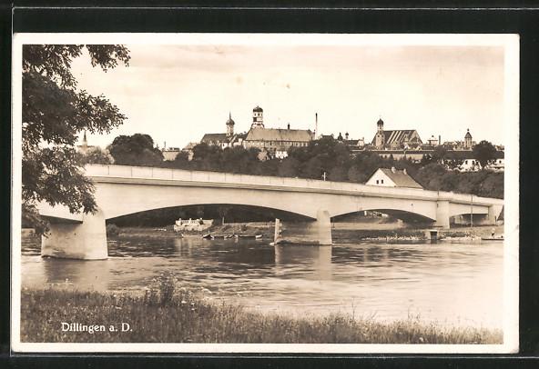 AK Dillingen, Ortsansicht mit Brücke 0