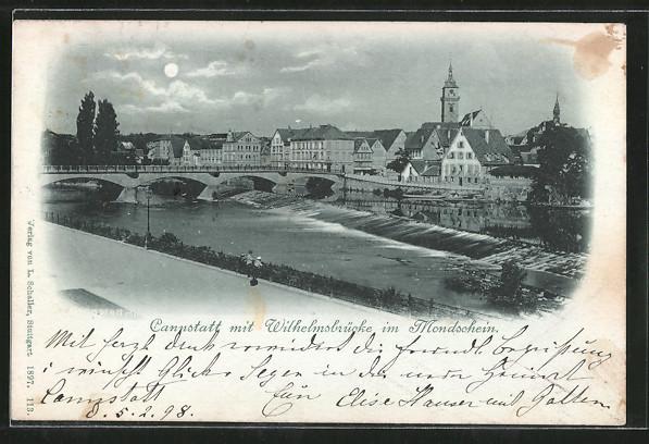 Mondschein-AK Cannstatt, Ortsansicht mit Wilhelmsbrücke 0