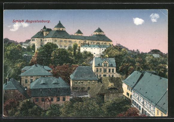 AK Augustusburg, Teilansicht mit Schloss 0