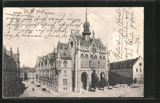 AK Erfurt, Strassenpartie am Rathaus 0