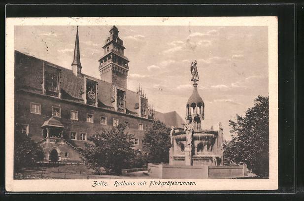 AK Zeitz, Rathaus mit Finkgräfebrunnen 0