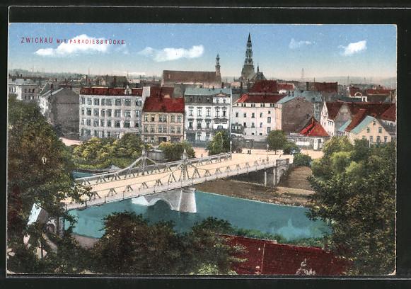 AK Zwickau, Ortsansicht mit Paradiesbrücke 0