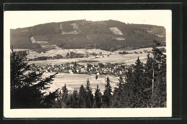 AK Cunewalde, Blick vom Bieleboh nach dem Czorneboh