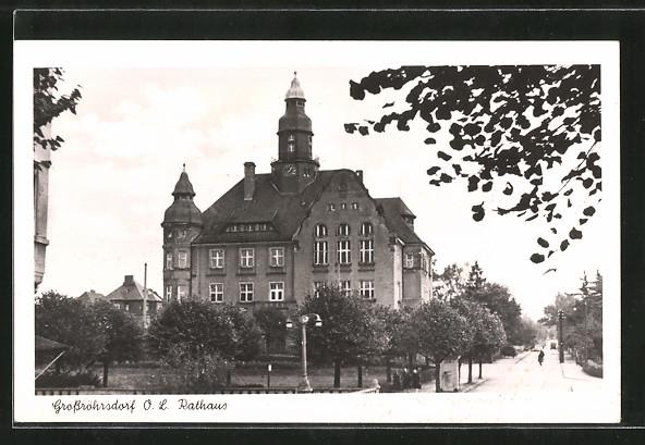 AK Grossröhrsdorf, Strassenpartie am Rathaus 0