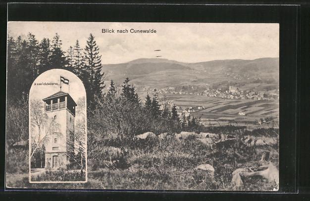 AK Cunewalde, Ortsansicht, Aussichtsturm 0