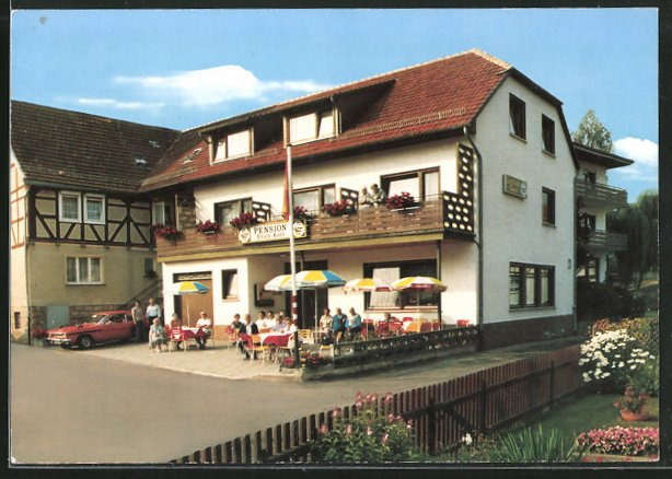 AK Rengshausen-Knüllwald, Blick auf die Pension Kurz 0