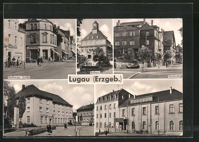 AK Lugau, Stollberger Strasse, Poststrasse, Rathaus 0