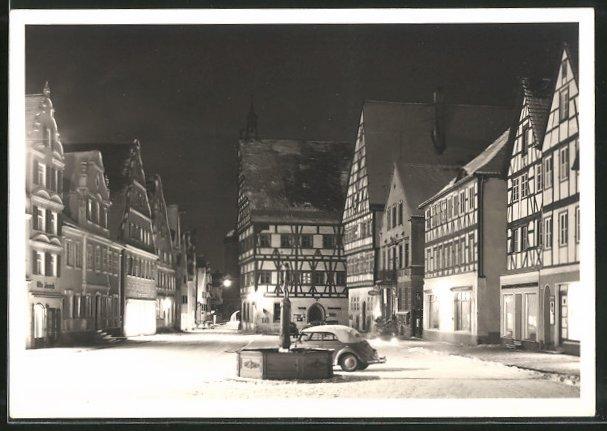 Foto-AK Oettingen, Strassenpartie im Winter bei Nacht