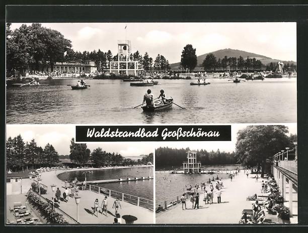 AK Grossschönau, Waldstrandbad, Teilansichten 0