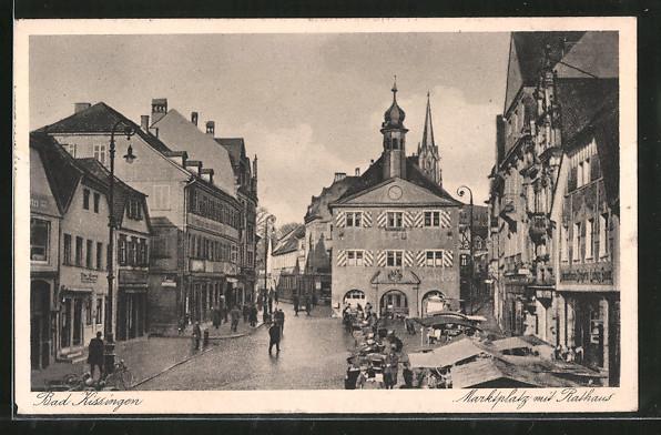 AK Bad Kissingen, Marktplatz mit Rathaus 0