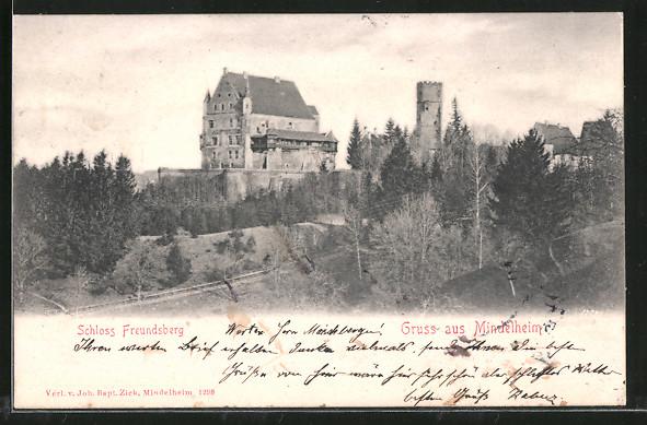 AK Mindelheim, Blick zum Schloss Freundsberg 0