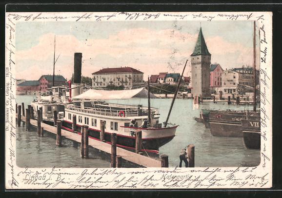 AK Lindau, Hafenpartie mit Dampfer 0