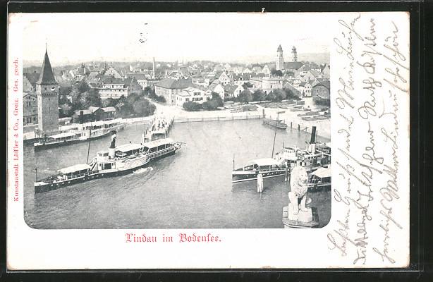 AK Lindau, Hafen aus der Vogelschau 0
