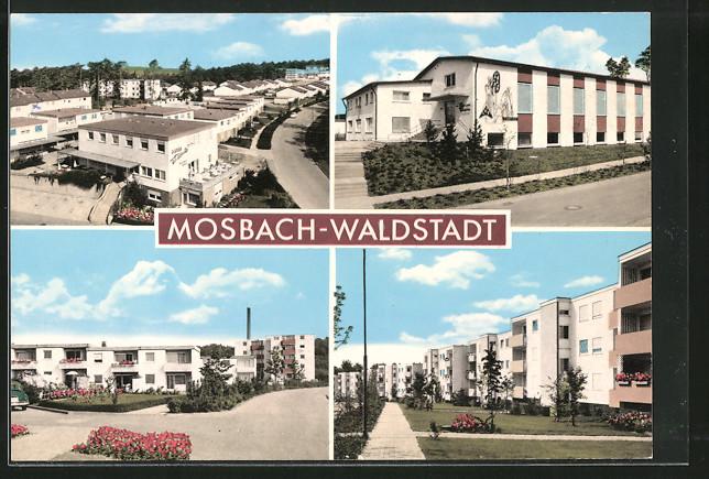AK Mosbach-Waldstadt, Partie mit Neubauten 0