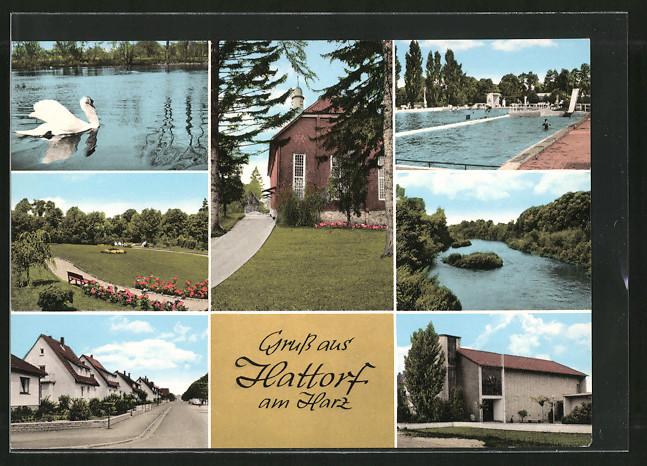 AK Hattorf, Ortspartien mit Schwimmbad, Strasse & Parkanlagen 0