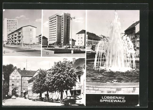 AK Lübbenau, Neustadt mit Strasse der Jugend, Roter Platz & Springbrunnen an der Hauptstrasse 0