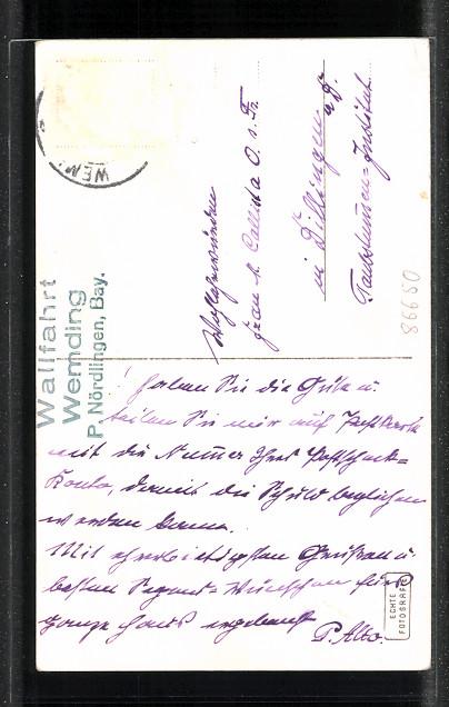AK Wemding, Innenansicht der Wallfahrtskirche 1