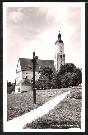 AK Wemding, Strassenpartie an der Wallfahrtskirche 0