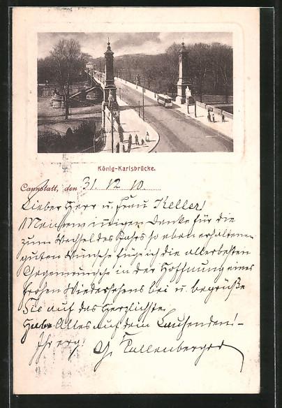 AK Cannstatt, Blick auf die König-Karlsbrücke 0