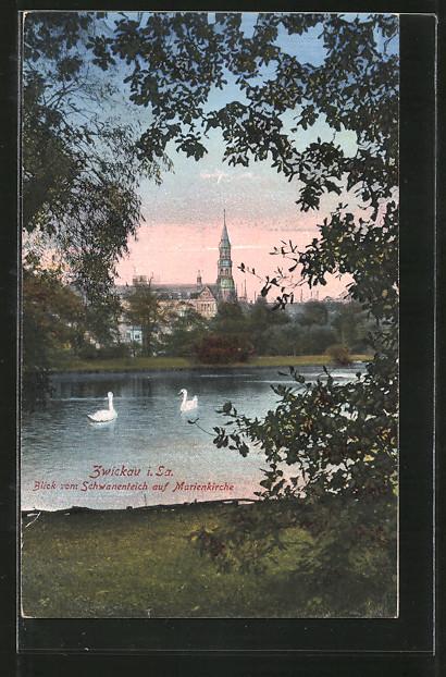 AK Zwickau, Blick vom Schwanenteich auf Marienkirche 0