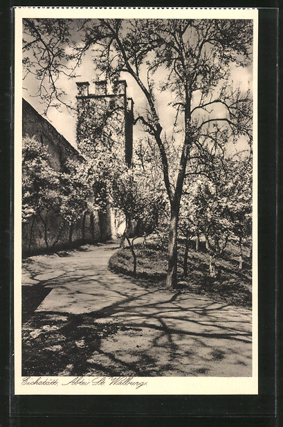 AK Eichstätt, Benediktiner-Abtei St. Walburg, Obstgarten an der Stadtmauer