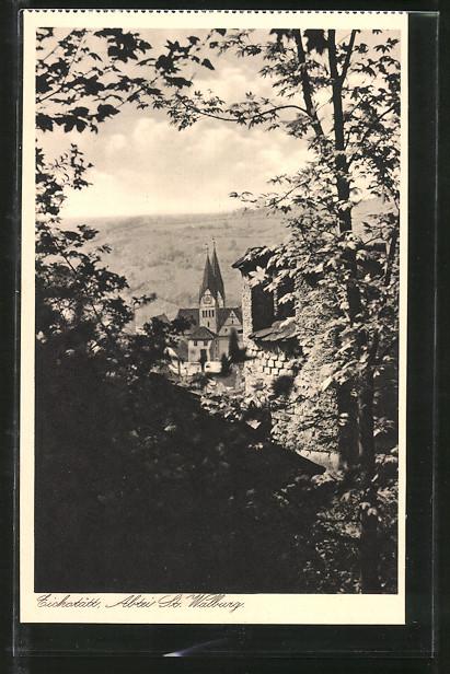 AK Eichstätt, Benediktiner-Abtei St. Walburg, Dom vom Garten 2 aus